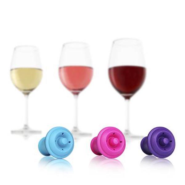 Vacu Vin Vacuum Wine Stopper Pink/Blue/Purple Set of 3